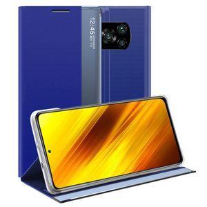 Xiaomi Poco X3 NFC Hülle, LaimTop Slim Flip Leder Smart View Window Klappetui Schutzhülle mit Standfunktion für Xiaomi Poco X3 NFC Blau