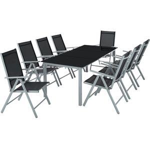 tectake Aluminium Sitzgruppe 8+1 - hellgrau