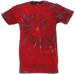 Batik T-Shirt, Herren Kurzarm Tie Dye Shirt - Rot/lila Spirale, Baumwolle, Größe: XL