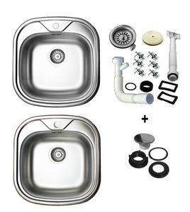 Edelstahl Küchenspüle 48 x 48cm Edelstahlspüle Spüle Einbauspüle Spülbecken inkl.Ablaufgarnitur