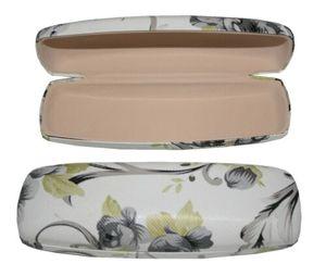 GKA wunderschönes Hartschale Brillenetui weiß - grau Hartenschalenetui Blumen Etui für Brille Lesebrille Sonnenbrille