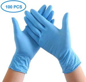 100 Stück Nitril Einweghandschuhe Puderfreie kautscHn8texfreie medizinische Untersuchungshandschuhe Nicht steril beidhändig Bequeme industrielle blaue Gummihandschuhe M