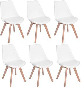 H.J WeDoo 6 x Wohnzimmerstuhl Esszimmerstuhl Bürostuhl mit Massivholz Buche Bein,Retro Design Gepolsterter Stuhl Küchenstuhl Holz, Weiß