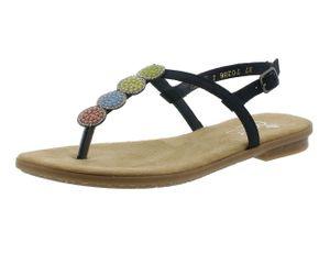 rieker Damen Zehentrenner Blau Schuhe, Größe:42