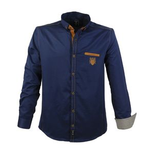 LAVECCHIA trendiges Herren Hemd Große Größen Navy, Größe:4XL