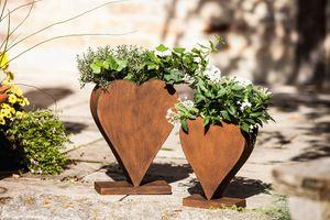 Edelrost Herz / Pflanzer Rostherz, stehend im 2er Set