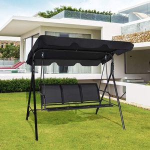 Goplus Hollywoodschaukel mit Sonnendach, Gartenschaukel 3-Sitzer, Schaukel Schaukelbank Schwarz