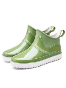 Uni-Schuhe Regenstiefel Damen Gummi Watschuhe,Farbe: Grün,Größe:43