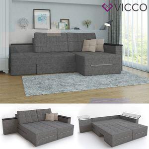 Ecksofa mit Schlaffunktion 240 x 160 cm Grau - Eckcouch Sofa Couch Schlafsofa Taschenfederkern