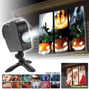 Halloween Weihnachten Wunderland Fenster Projektor Festival Filme Display LED Projection mit 12 Filmen (6x Halloween+6x Weihnachten) Partybeleuchtung