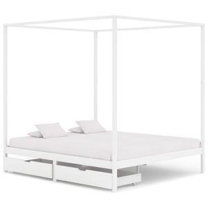 Doppelbett Bett Himmelbett-Gestell 2 Schubladen Weiß Kiefernholz 180x200cm - klassische betten für Schlafzimmer