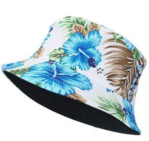 Uni Baumwolle Fischerhut Bucket Hat Früchte Druck Reversibel Strandhut Sonnenhut Outdoor Hut, Blätter-Blau