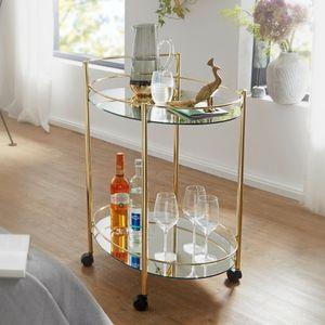 WOHNLING Design Servierwagen Gold 67x79 cm Mobile Mini Bar | Beistelltisch auf Rollen | Speisewagen mit Glasplatte Weiß | Küchenwagen | Teewagen mit Milchglas