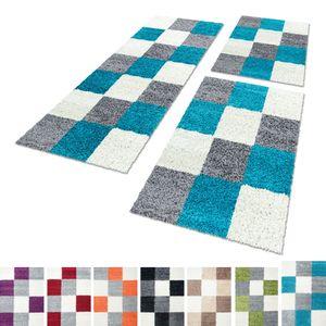 Bettumrandung Shaggy Teppich Läuferset 3 teilig Hochflor Karo muster Langflor, Farbe:Türkis, Bettset:2 mal 60x110 + 1 mal 80x150
