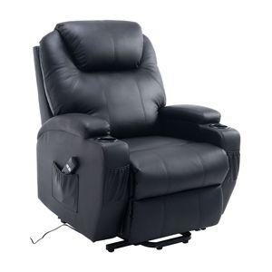 HOMCOM Elektrischer Fernsehsessel Aufstehsessel Relaxsessel Sessel mit Aufstehhilfe Schwarz