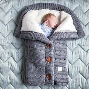 Baby Schlafsack für Kinderwagen Winter Gestrickt Schlafsack Süße Samt Warme Tasche 70*40cm für Babys Neugeboren 0-18 Monat, Grau XL