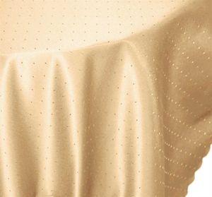 Tischdecke 135x180 cm ecru oval Punkte Mitteldecke bügelfrei fleckenabweisend