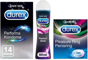 Durex Ausdauer Vorteilsset | Performa Kondome, Pleasure Ring, Perfect Glide 50ml