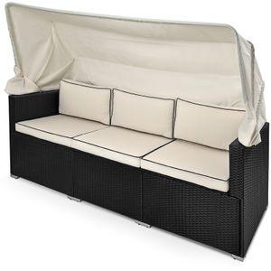Casaria Polyrattan Lounge Faltbares Sonnendach 7cm Auflage UV-beständig Wetterfest Garten Sonnenliege Gartenmöbel Schwarz