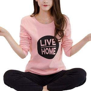 Damen Pyjama Rundhalsausdruck Langarm Hosenanzug,Pink5,XXL