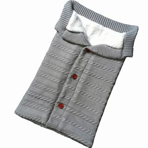 Winter Kinderwagen Schlafsack, Outdoor Baby Schlafsack, verdickt, gestrickt, Samt,Knopf,grau