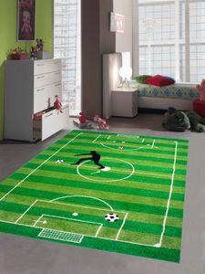 Kinderteppich Spielteppich Kinderzimmer Teppich Fußball Teppich in Grün Hellgrün Schwarz Weiss Größe - 120x170 cm