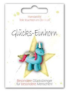 1 Glücksbringer Einhorn Glückseinhorn auf Karte ca 3 x 4 cm mit coolen Sprüchen