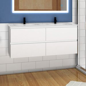 Badmöbel Set 120cm Badezimmer Waschtisch mit Unterschrank Weiß Matt