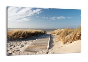 "Leinwandbild - 120x80 cm - ""Hinter der Düne, im Rascheln des Grases""- Wandbilder - Meer Strand Düne - Arttor - AA120x80-2657"