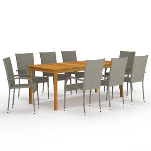 Gartenmöbel Essgruppe 8 Personen ,9-TLG. Terrassenmöbel Balkonset Sitzgruppe: Tisch mit 8 Stühle Grau❀8080