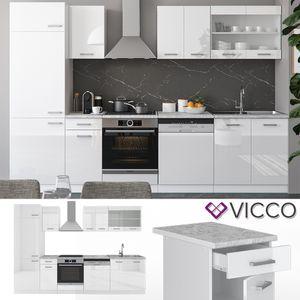 Vicco Küche R-Line 300 Cm Küchenzeile Küchenblock Einbauküche - Weiss Hochglanz