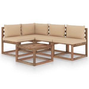vidaXL 5-tlg. Garten-Lounge-Set mit Beige Kissen