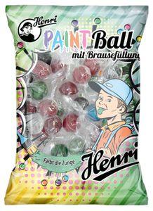 Henri Paint Ball mit Brausefüllung Hartkaramelle färbt die Zunge 200g