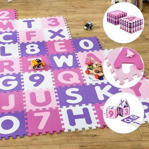 Juskys Kinder Puzzlematte Juna 36 Teile mit Buchstaben A-Z & Zahlen 0-9 - rutschfest – rosa für Mädchen - Puzzle - ab 10 Monate – Spielmatte