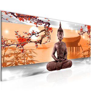 Buddha Feng Shui BILD 100x40 cm − FOTOGRAFIE AUF VLIES LEINWANDBILD XXL DEKORATION WANDBILDER MODERN KUNSTDRUCK MEHRTEILIG 504912c