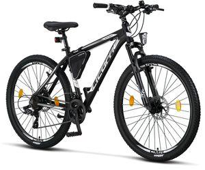 Licorne Bike Effect Premium Mountainbike - Fahrrad für Jungen, Mädchen, Herren und Damen - Shimano 21 Gang-Schaltung - Herrenrad, Farbe:Schwarz/Weiß (2xDisc-Bremse), Zoll:27.50