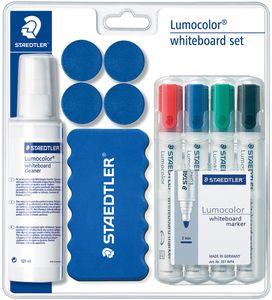 STAEDTLER Lumocolor Whiteboard-Set 4 Whiteboardmarker 1 Tafelwischer 1 Cleaner