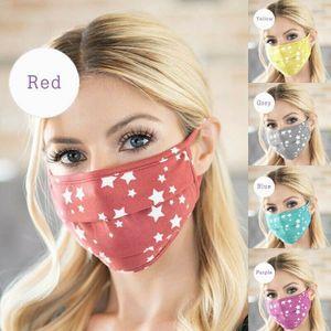 2 Stücke Erwachsenenmaske Baumwolle Staubmaske Waschbar Mode Sterne Gedruckt Unisex