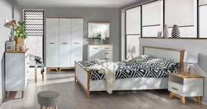 Easy Möbel Schlafzimmer Komplett - Set B Panduros, 7-teilig, Farbe: Kiefer Weiß / Eiche Braun