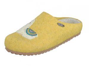 """Supersoft Damen Schuhe 522-419 """"Lama"""" Pantoffeln Filz Hausschuhe Yellow"""