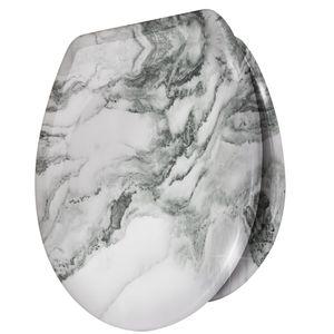 WC Sitz Toilettensitz mit Absenkautomatik Duroplast Klodeckel Klositz, Motiv:Marmor Weiß