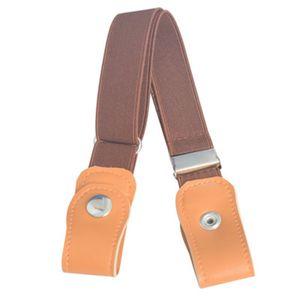 Fashion Stretch Kindergürtel Elastischer Gürtel Schnallenfreier unsichtbarer Gürtel,Farbe:Braun