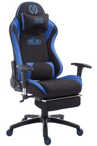 CLP Racing Bürostuhl XL Shift Stoff höhenverstellbar und drehbar, Farbe:schwarz/blau, Fußablage:mit Fußablage