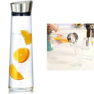 Wasserkaraffe 1Liter Karaffe Saftkrug Krug aus Glas mit Ausgiesser und Sieb Saft