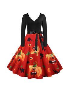 Frauen Retro ausgestelltes Kleid Halloween Kürbis gedruckt Langarm Party Swing Kleid,Farbe:Rot, Größe:L