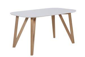 SalesFever Esstisch skandinavisches Design | Gestell Holz massive Eiche | Tischplatte MDF weiß lackiert | 160x90x76 cm