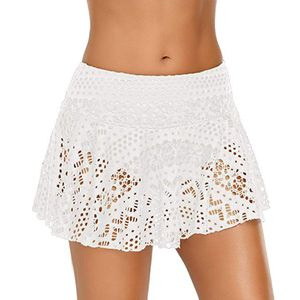 Damen Spitzen Häkelrock Bikini Bottom Badeanzug Short Skort Swim Rock LFY90408201