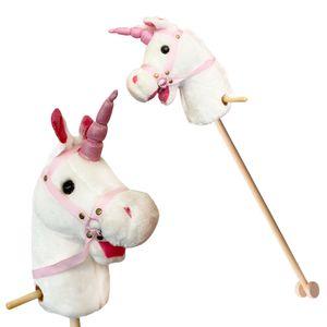 Einhorn Steckenpferd mit Sound Hobbyhorse 96cm Stockpferd Pferd mit Rollen weiß