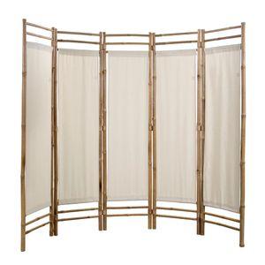 Paravents 5-teiliger Faltbarer Raumteiler Bambus und Leinwand 200 cm