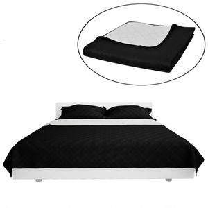 Zweiseitige Tagesdecke Bettüberwurf Bettdecke Schwarz/Weiß 230x260cm